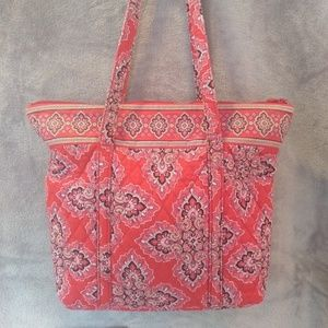 Vera Bradley Red Quilted Tote Bag